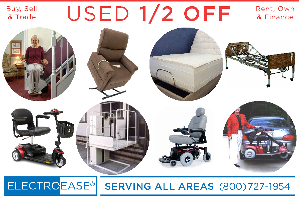 New & Used adjustable beds buy sell & trade bariatric hospital beds rent own & finance lift chairs rent rentals renting mobility electric scooters inexpensive stair lifts cost wheelchairs sale price wheel chair elevators